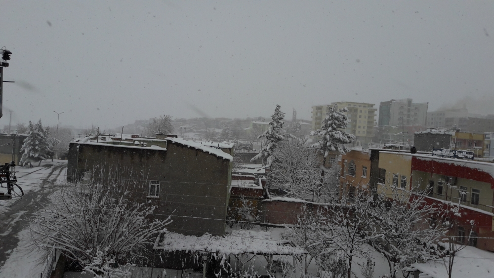 Çınar'da yoğun kar yağışı 1