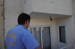 Mahsur kalan kuşu itfaiye kurtardı
