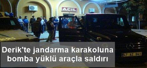 Derik'te jandarma karakoluna bomba yüklü araçla saldırı