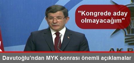 Başbakan Davutoğlu'ndan MYK sonrası önemli açıklamalar