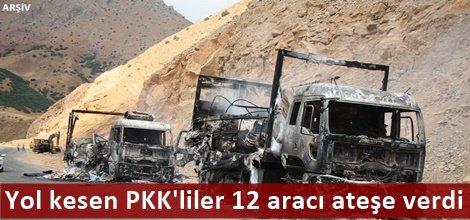 Yol kesen PKK'liler 12 aracı ateşe verdi