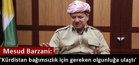 Mesud Barzani: Kürdistan bağımsızlık için gereken olgunluğa ulaştı