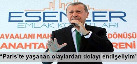 """Cumhurbaşkanı Erdoğan,""""Paris'te yaşanan olaylardan dolayı endişeliyim"""""""