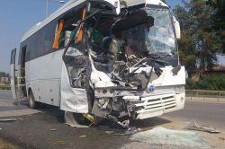 Mersin Tarsus'taki test sürüşündeki iki otobüs çarpıştı foto