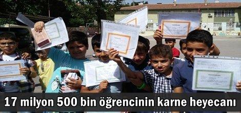 17 milyon 500 bin öğrencinin karne heyecanı