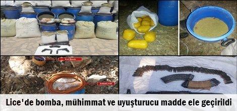 Lice'de bomba, mühimmat ve uyuşturucu madde ele geçirildi