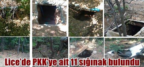 Lice'de PKK'ye ait 11 sığınak bulundu