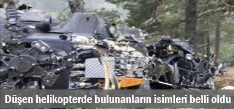 Düşen askeri helikopterde bulunanların isimleri belli oldu