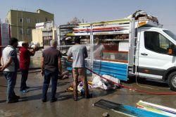 Çınarda seyir halindeki kamyonet alev aldı video-foto