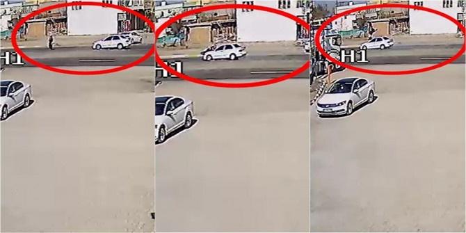 Çınar'da otomobilin yayaya çarpma anı kameralara yansıdı