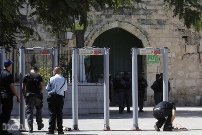Metal detectors at the entrance of Masjid al-Aqsa