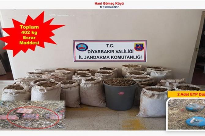 Diyarbakır'da 16 bin kök keneviri ve 400 kilo esrar ele geçirildi