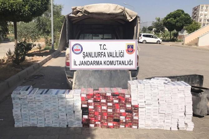 Şanlıurfa Akçakale'de 18 bin paket kaçak sigara ele geçirildi