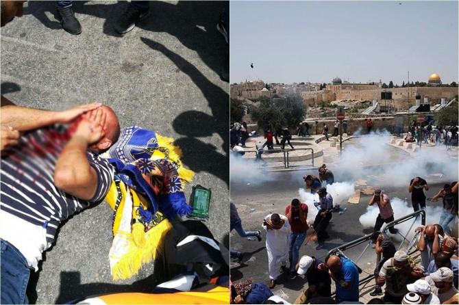 Siyonist polis Mescid-i Aksa için toplananlara saldırdı