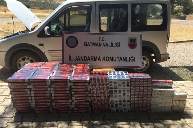 Batman-Hasankeyf Karayolunda kaçak sigara ele geçirildi