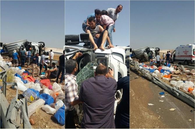 Şanlıurfa Hilvan'da TIR devrildi: 1 yaralı