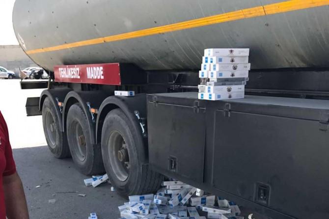 Van'da akaryakıt tankerinde 90 bin paket kaçak sigara bulundu