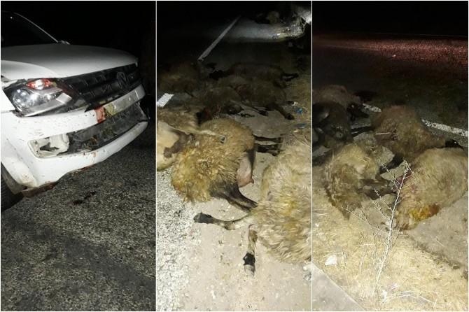 Bismil'de kaza: 4 kişi yaralandı 25 koyun telef oldu