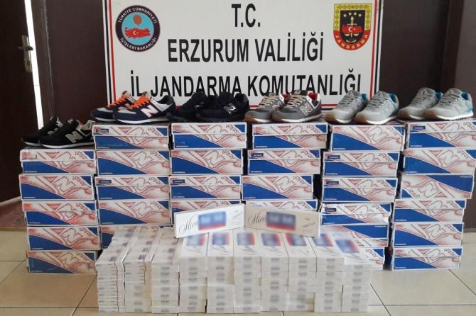 Erzurum'da gümrük kaçağı sigara ve ayakkabı ele geçirildi
