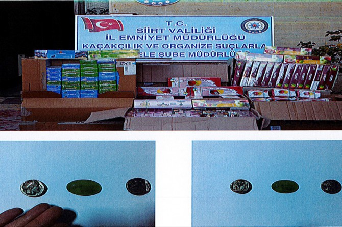 Siirt Baykan'da gümrük kaçağı nargile tütünü ile tarihi eser ele geçirildi