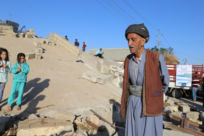 The earthquake victims desperately watching the wreckage of their homes