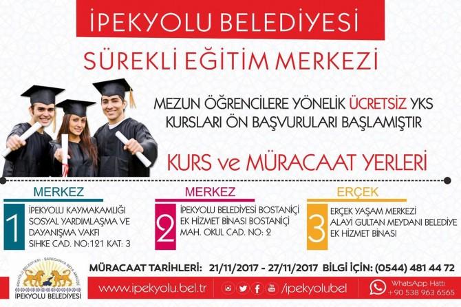 Van İpekyolu Belediyesinden üniversite adaylarına destek