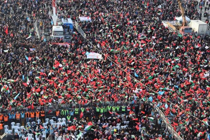 """""""Kudüs İslam'ındır"""" mitingi on binlerce kişinin katılımıyla gerçekleşti"""