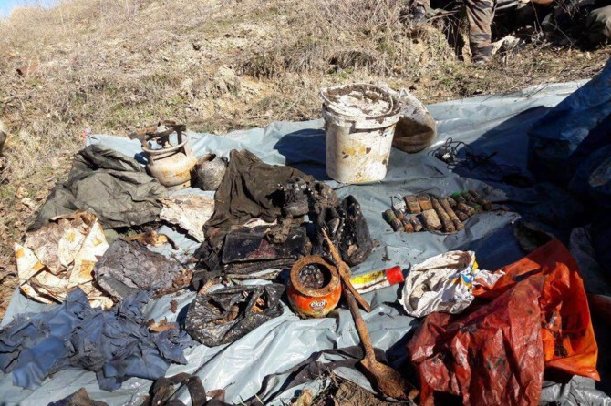 Tunceli'de toprak altına gizlenmiş patlayıcı madde bulundu