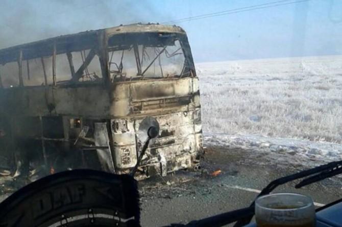 Passenger bus burns in Kazakhstan: 52 dead