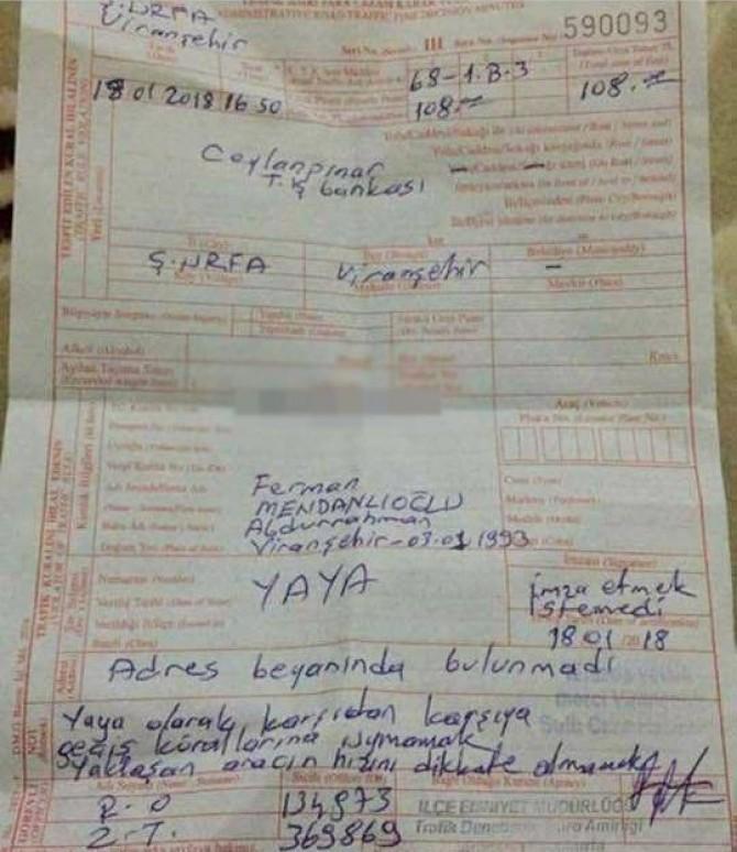 Şanlıurfa Viranşehir'de karşıya geçmek isteyen yayaya ceza kesildi