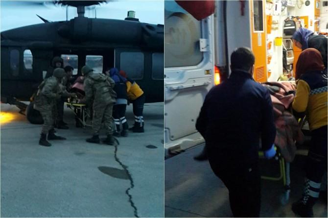 Ağrı Diyadin'de düşük yapan hamile kadın helikopterle hastaneye yetiştirildi