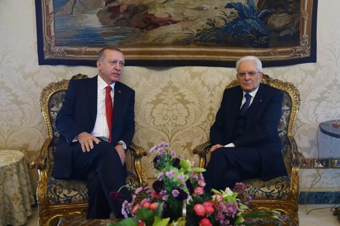 Cumhurbaşkanı Erdoğan İtalya Cumhurbaşkanlığı Sarayı'nda
