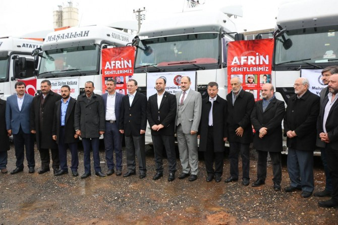 Afrin kırsalına 5 yardım TIR'ı gönderildi