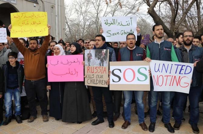 Gaziantep'teki Suriyeliler Doğu Guta saldırılarını kınadı