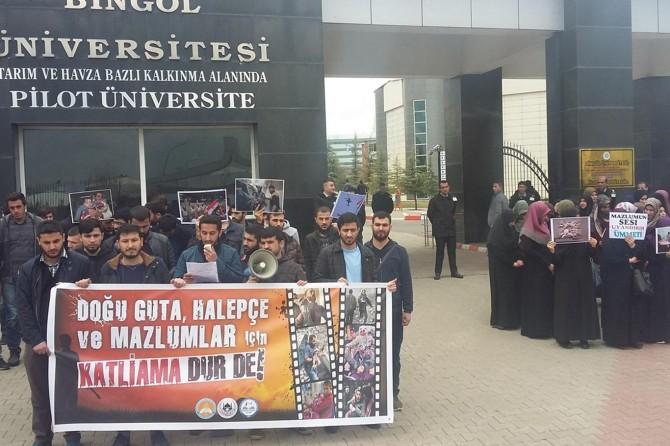 Öğrenciler Doğu Guta ve İslam coğrafyasındaki katliamları kınadı