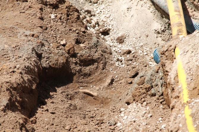 Kazı esnasında insan kemikleri bulundu