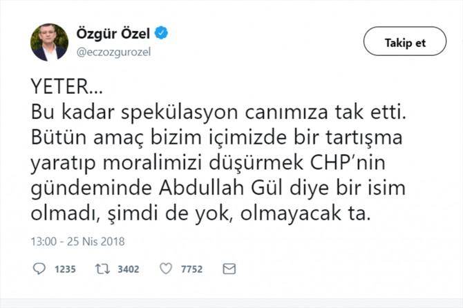 CHP: Abdullah Gül olmadı, olmayacak