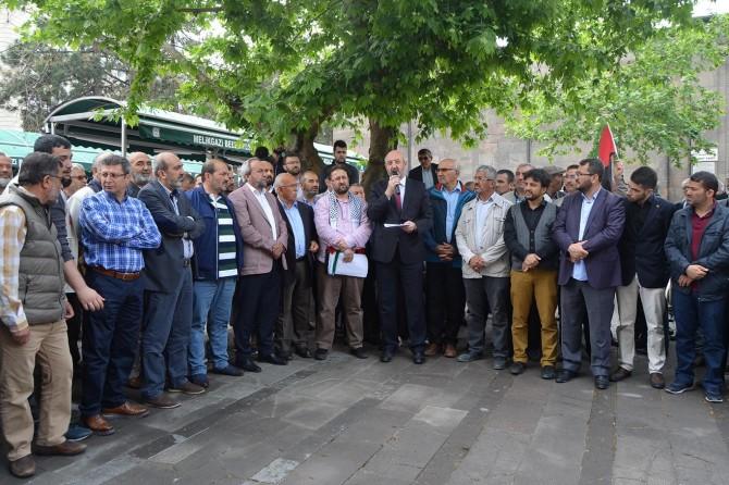 Siyonist işgalciler ve Fransa'daki skandal Kur'an bildirisi Kayseri'de tel'in edildi