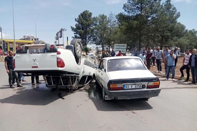 Takla atan kamyonetten yara almadan kurtuldu