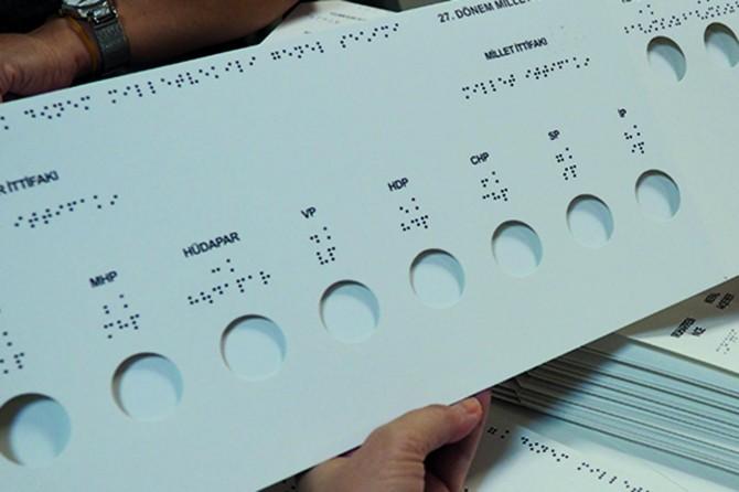 Görme engelliler özel şablonla oy kullandı