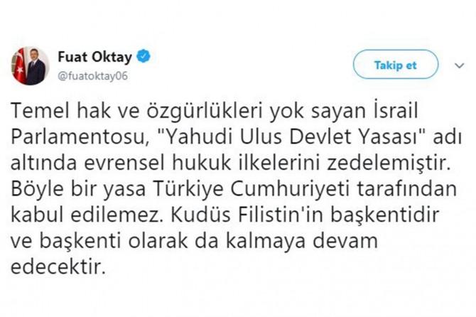 Cumhurbaşkanı Yardımcısı Oktay'dan Siyonist rejime tepki