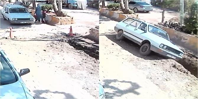 Çınar'da emniyet şeridini fark etmeyen sürücü çukura düştü