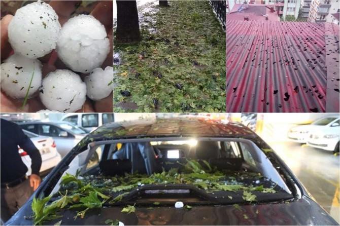 Dolu yağışı ev, araç ve sığırcık kuşlarını vurdu