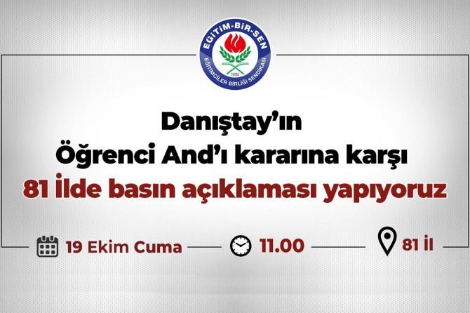 """""""Öğrenci Andı"""" kararı 81 ilde protesto edilecek"""