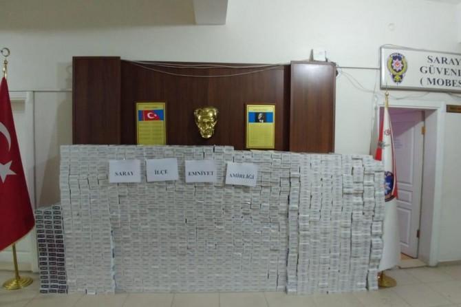 Van Saray'da 12 bin paket gümrük kaçağı sigara ele geçirildi