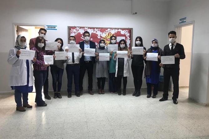 Maske takıp lösemili çocuklara destek mesajı verdiler