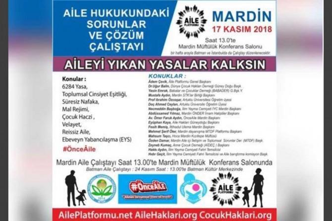 """Mardin'de """"Önce Aile"""" çalıştayı düzenlenecek"""