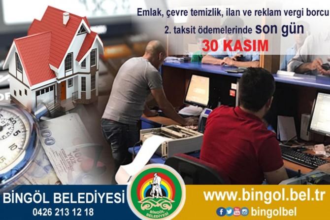 Bingöl Belediyesinden vergi borcu uyarısı