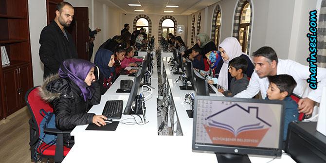 Çınar Alabaş'tan gelen öğrenciler Bilgi Evi'ni gezdi