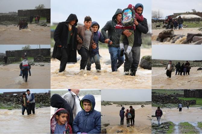 Diyarbakır Ergani'de veli ve öğrencilerin zorlu okul yolculuğu